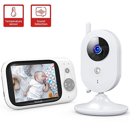 """Victure Babyphone mit Kamera, Video Baby Monitor mit 3,2\"""" LCD-Bildschirm, VOX-Modus,Gegensprechfunktion,Infrarot Nachtsicht,930mah Wiederaufladbarer Akku"""