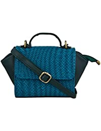 TARUSA Blue Faux Leather Fabric Geometric Sling Bag For Women