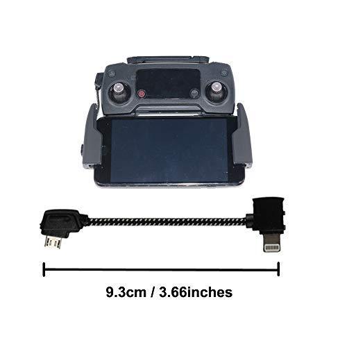 "Câble Micro USB pour télécommande DJI Mavic Pro, Nylon tressé - Compatible avec Tablette Android DJI Mavic Pro/Air Drone RC 8,15"" Cable for Iphone"
