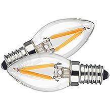 TAMAYKIM C7 1W Filamento Lampadina LED Notte - 2700K Bianco Caldo 100 lumen - 1W equivalente a 10W - Attacco E14 - Mini Siluro Forma - 360° Angolazione Fascio Luce - Non Dimmerabile - 2 Pezzi