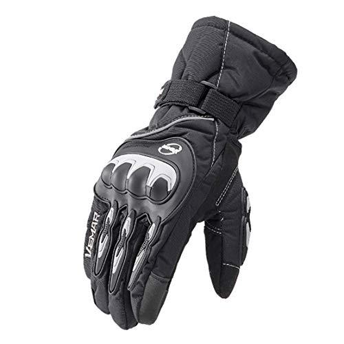 Guanti da Moto Professionali Inverno Caldo Guanti Impermeabili a Dito Pieno Allungare/Addensare Guanti Ridding per Motociclo, Sciare,Blakc,M