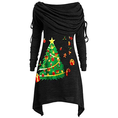 Weihnachtspullover Damen Große Größe Sweatshirt Mode Sweater Langarm Kragen Tunika Top Bluse Piebo Frauen Casual Jumper Hoodie Kapuzen Outwear Herbst Winter Pullover Mantel Minikleid Kapuzenpullover