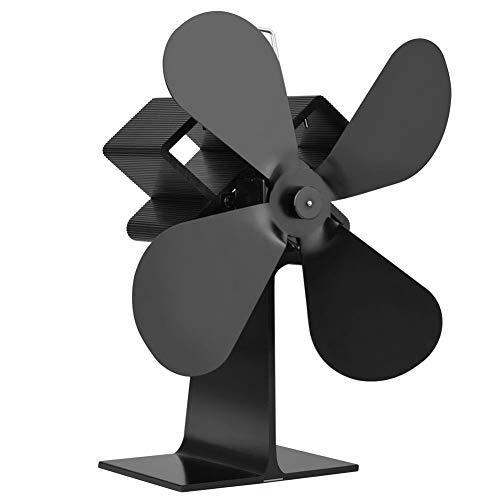 Ofenventilator – schneller, wärmebetriebener Brenner, mit 4 Klingen, geräuschlos, Kaminholzbrenner, Winterwärmer