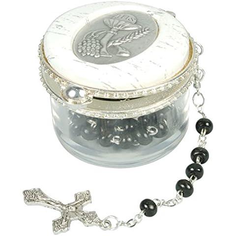 Set, scatola rosario comunione rotondo rosario di