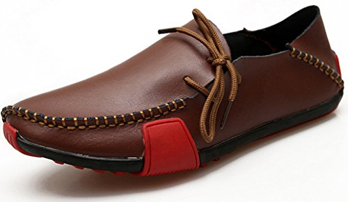 ECOTISH Moccassins Homme Cuir véritable Plats Slip-on Loafers Loisirs Chaussures de Conduite Chaussure de Marche Marron