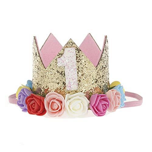 NiceButy niña Princesa Corona Diadema 1 año cumpleaños