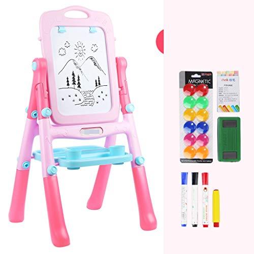RFJJAL Kinder Zeichenbrett Staffelei doppelseitiges magnetisches Schreibbrett Spielzeug, Farbe Graffiti Halterung Typ kleine Tafel (Farbe : Rosa)