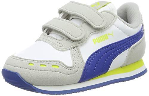 Puma Cabana Racer SL V Inf, Scarpe da Ginnastica Unisex - Bambini, Bianco White-Galaxy Blue-Gray Violet-Nrgy Yellow 77, 22 EU