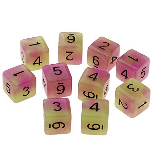 e D6 Nachtleuchtende Würfel Spielwürfel Dice Spiele Set - Lila + Grün ()