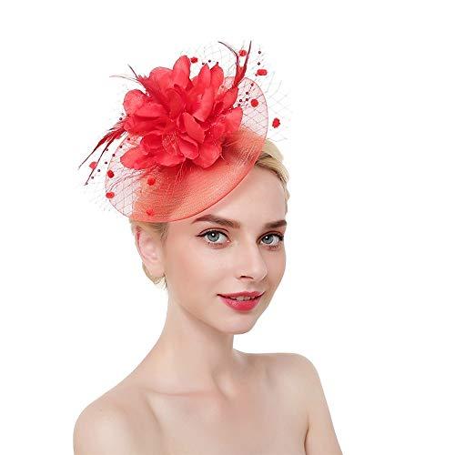 HFJ&YIE&H Fascinator-Hut Rose Feder Net Mesh Kentucky Derby Tee-Party Kopfbedeckung mit Haarspange und Haarband für Frauen oder Mädchen, Red