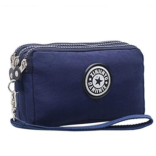 JTSYHladies'waterproof Nylon in DREI Schichten auf Kosmetik - Tasche, die kleinen Stoffbeutel,Navy Blue -
