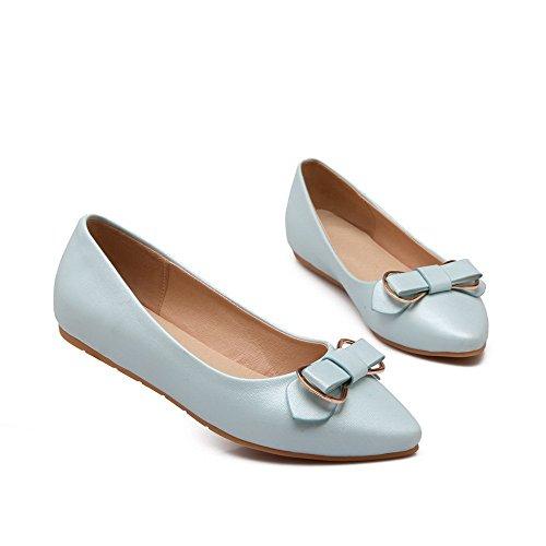 AllhqFashion Damen Pu Leder Niedriger Absatz Spitz Zehe Eingelegt Ziehen Auf Pumps Schuhe Blau