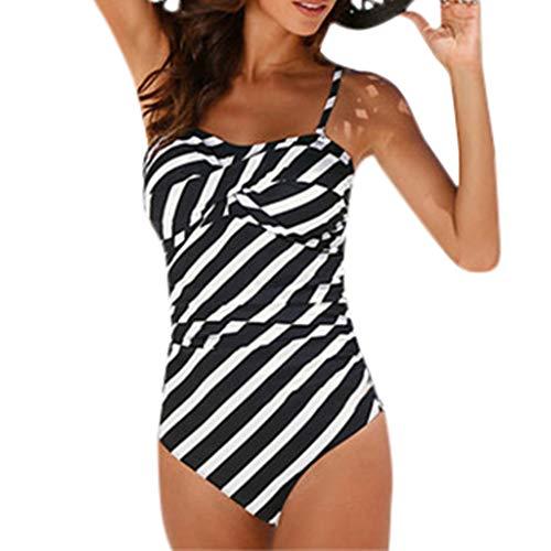Vectry Damen Strand Monokini Sommer Badeanzug Polka Dot Bikini Sets Mode Schwimmen Strap Sling Einteiliges KostüM Push Up Gepolsterte Badebekleidung Swimjupmsuit Tankini Grau,XXL -