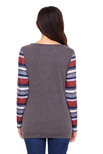 Happy Sailed Femme Pull Hiver Sweater Col Rond Sans Capuche Pullover à Manches Longues Avec Une Grande Poche Devant Marron