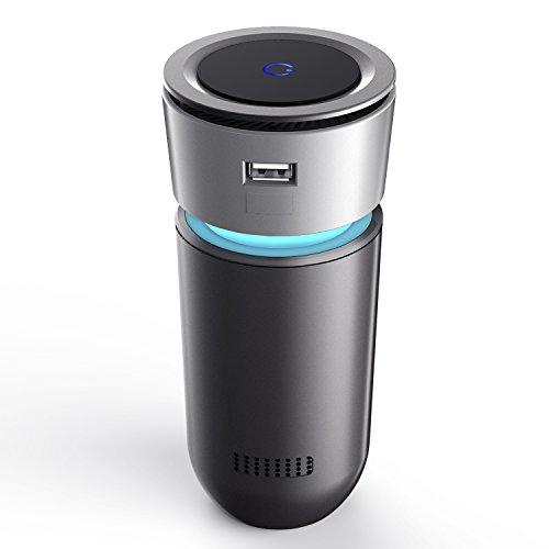 Auto Luftreiniger, USB Luftwäscher, Luftreiniger UV, HiGoing HEPA Filter mit Ionisator, Auto Lufterfrischer, Air Purifier Entfernt Staub, Pollen, Schadstoffe und Geruchsstoffe für Auto Büro Schlafzimmer