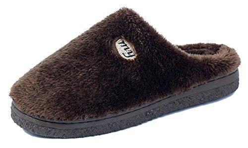 AgeeMi Shoes Damen Warm Rund Zehe Flache Hausschuhe Unisex Erwachsene Pantoffeln,EuT03 Kaffee 40/41