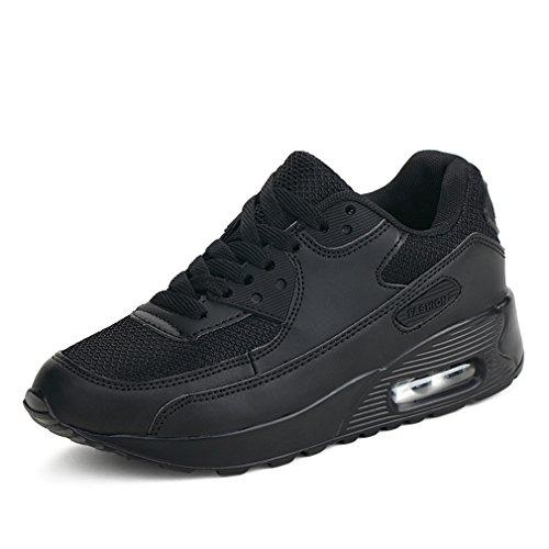 Atmungsaktive laufende Turnschuhe Damen beiläufige Art- und Weiseeignung-Trainer-gehende Schuhe (40 EU, Schwarz) -