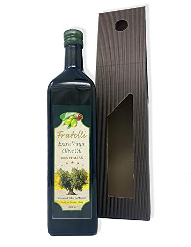 Extra Virgin Olive Oil Cold Pressed – Fratelli First Pressed 100% Pugliese, Best Italian Pure Olive Oils – Dark Glass Bottle – Unfiltered & Certified – Great for Dressings and Cooking (1 Litre)