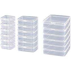 HPiano 18 Pack Taille Mixte Rectangle Mini Transparent en Petites boîtes de réutilisables en Plastique Conteneurs De Stockage avec Couvercle pour Pilules, Perle Minuscule, Argile à Modeler, Bijoux