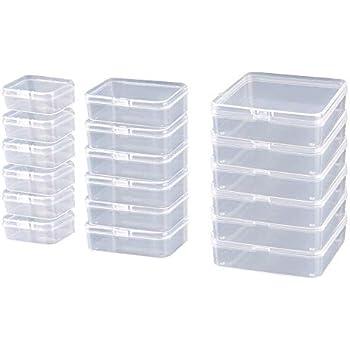 Hpiano 18 Stück 3 Größen Kleine Behälter Aus Transparentem Kunststoff Box Mit Scharnierdeckel Bead Aufbewahrungsbox Fall Für Handwerk Schmuck