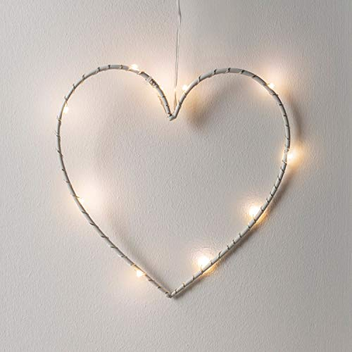 Lights4fun 10er Micro LED Herz Silhouette perlweiß Batteriebetrieb Timer