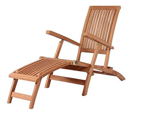 Mr. Deko Teak Deckchair Yacht Teak - Bear Chair - Liegestuhl - Relaxliege - Gartenliege - Outdoormöbel - Teakholz - für Balkon, Terrasse, Wintergarten, Garten