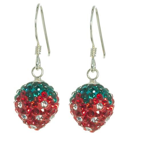 Bella Carina Kinder Ohrringe mit Kristall Elements, Erdbeere, 925 Sterling Silber
