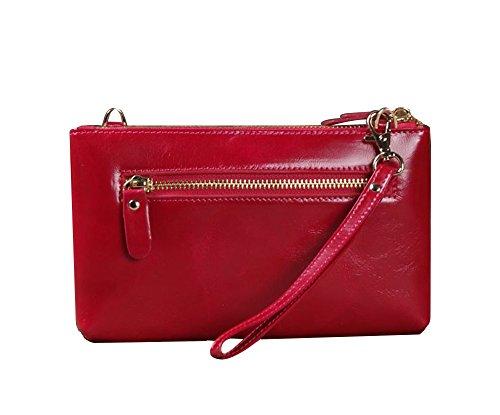 Genda 2Archer Borsa a Mano Piccola Cerniera Portafoglio Donna Cellulare Messenger Borsa (20 cm * 1.5cm * 11.5 cm) (Giallo) Rosso