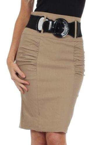 Sakkas IMShirrKneeBelti-9645 Petite High Taille Shirred Stretch Bleistiftrock mit Breiten Gürtel - Mokka / 2X (Blusen Für Damen, Made In Usa)