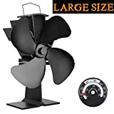 KINDEN 4-Blade Heat Powered Stove Fan for Wood / Log Burner/Fireplace,Black,Eco Friendly,increases 80% more warm air than 2 blade fans