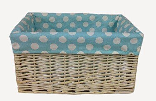 Blau Spotty Gefüttert Wicker Open Storage Basket Large
