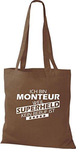 Shirtstown Stoffbeutel Ich bin Monteur, weil Superheld kein Beruf ist mittelbraun
