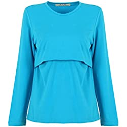 Bold N Elegant Women's Blue Full Sleeve Pregnancy Maternity Clothes Nursing Tops Breastfeeding T-Shirt Top Tee
