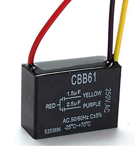 DaFFeng Cbb61 1.5Uf + 2.5Uf Condensatore A 3 Fili 250Vca Per Ventilatore A Soffitto 3 Fili