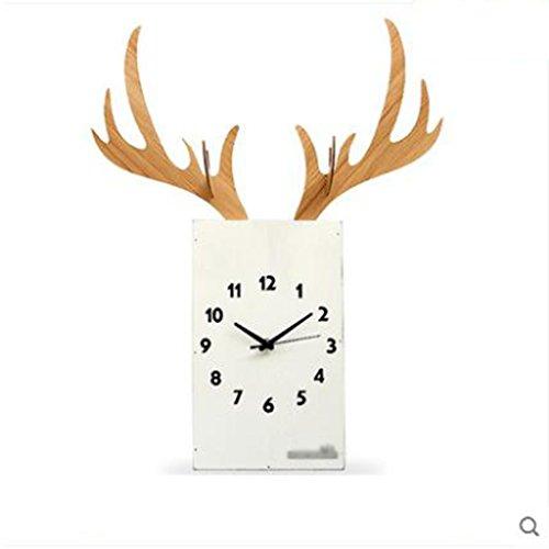 ne europäische Hirsch Kopf Uhr Hause Wohnzimmer stumm Uhren 30,7 Zoll * 23,2 Zoll (Color : Weiß) (Geschichte Pocket Watch)