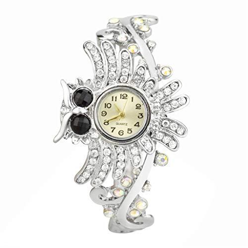 Armbanduhr Damen Uhren Luotuo Mode Schön Eule Armbanduhren Diamant Wristwatch Klassisch Analog Quartzuhr Elegant Frauen Watch Freizeit Business Armreif