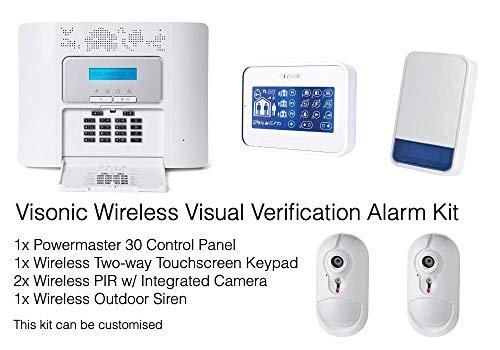 Visonic Professionelle drahtlose visuelle Verifizierung Intruder Alarm Kit - PIR integrierte Kamera - Touchscreen Tastatur Pir-kit