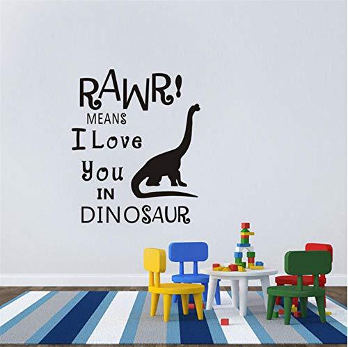 Dwqlx Dinosaurier - Kinder - Jungen - Mädchen - Schlafzimmer - Wandkunst - Vinyl Abnehmbare Wandtattoos Leben Cartoon Art Decor Wandaufkleber 58 * 70