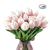 YGSAT10 Flores Artificiales Tulipán Flores Artificiales Plásticas Tulipanes Tallo único Para el Hogar Bricolaje Jardín Fiestas Ramo de Boda Decoración Rosa