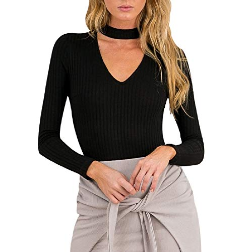 XWBO Damen Strickpullover Body Pullover Tiefe V-Ausschnitt Choker  Langarmshirt Sweatshirt Hemd Langarm Slim Fit Bluse Oberteil mit Halsband e410e35319