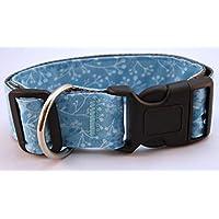 Hundehalsband Floral Himmelblau mit Stoffbezug und Acetalverschluss - versandfertig!