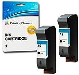 Printing Pleasure 2 SCHWARZ Druckerpatronen für HP Color Copier 180 280 Deskjet 1180c 1220c 1280 6120 9300 930c 959c 970cxi Fax 1220 Photosmart 1000 1100 1115 1215 | kompatibel zu HP 45 (C51645AE)