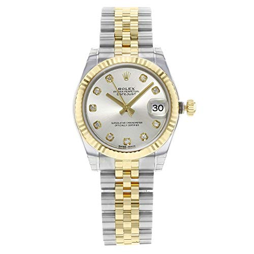 Rolex Datejust Lady 31 automatico argento quadrante set con diamanti in...