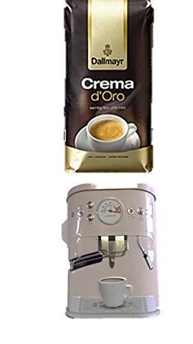 Dallmayr Crema d'oro Intensa in Bohne, 1er Pack (1 x 1000g Beutel) + Kaffeedose neu 3 D Design weiß