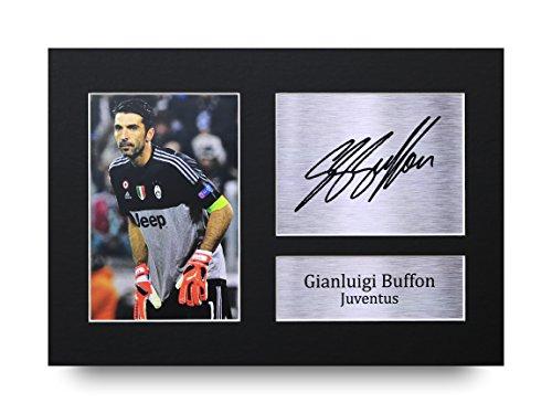 A4-Einrahmung mit Foto von Juventus-Spieler Gianluigi Buffon mit vorgedrucktem Autogramm, tolle Geschenkidee