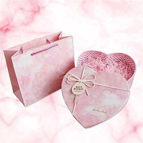 Thanksgiving Weihnachten herzförmige blau rosa Geschenkbox mit Deckel, Geschenkbeutel Füllstoff, Parfüm Armband Schokolade Geschenkbox , 3 Größen - Armband Schokolade