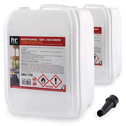 Höfer Chemie 20 L Bioethanol 100{a1bb59db6fef9dd772a84882af97c0ad8f0a357d7fe5b07e4e2fe8de466d1400} Hochrein (2 x 10 L) für Ethanol Kamin, Ethanol Feuerstelle, Tischfeuer und Bioethanol Kamin
