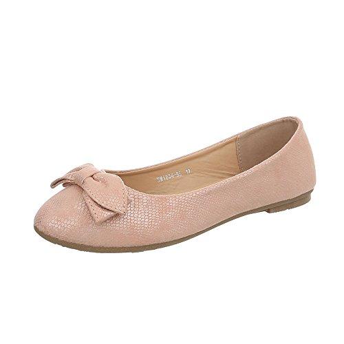 Ital-Design Klassische Ballerinas Damen-Schuhe Flach Rosa Gold, Gr 37, Bh1234-Bl- -