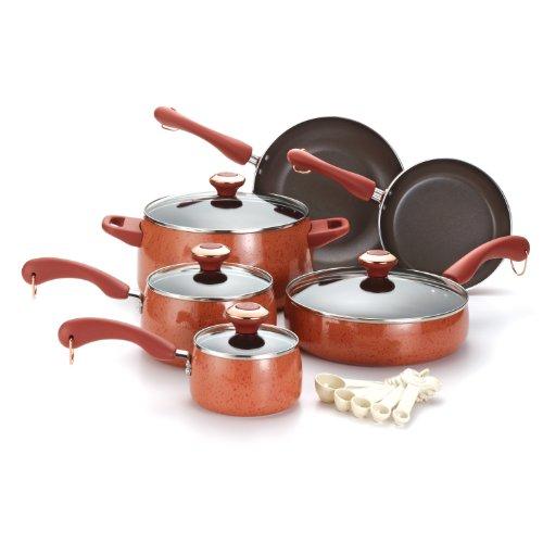 Paula Deen Signature Porcelain Nonstick 15-Piece Cookware Set, Coral Speckle