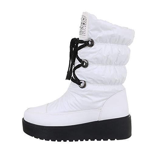 Ital-Design Damenschuhe Stiefeletten Snowboots Synthetik Weiß Schwarz Gr. 36